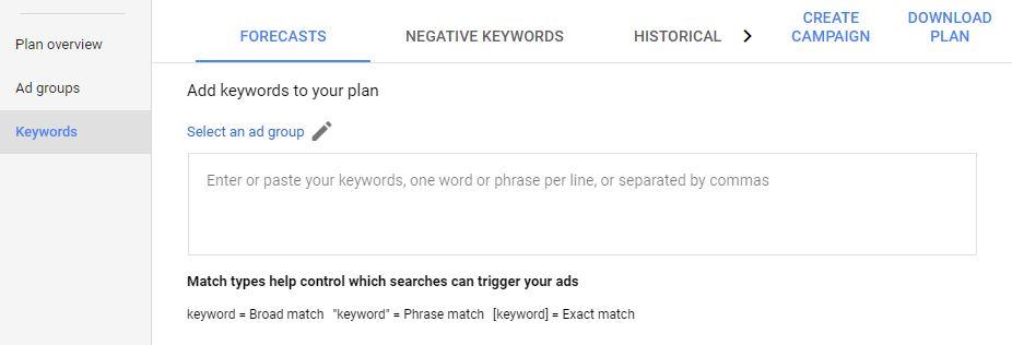 PPC new keyword planner