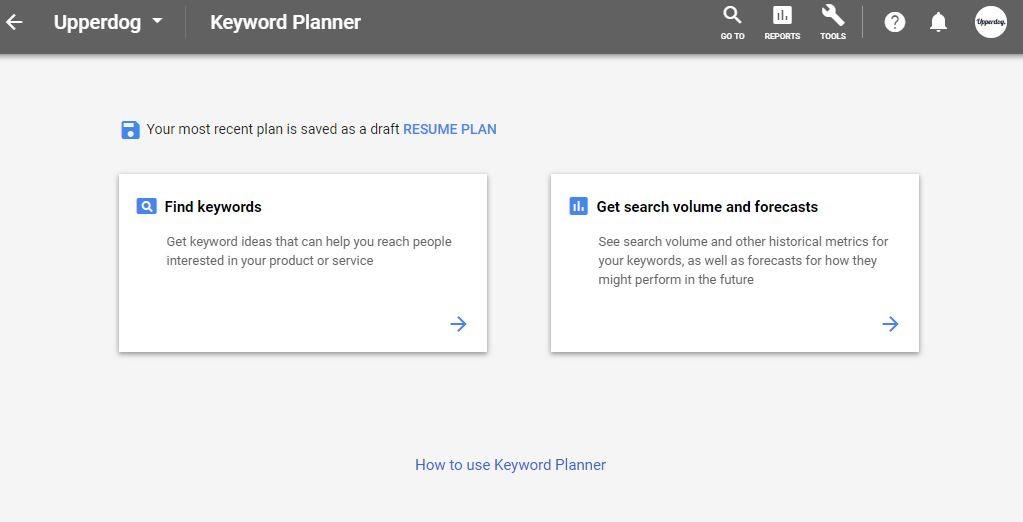 new ppc keyword planner